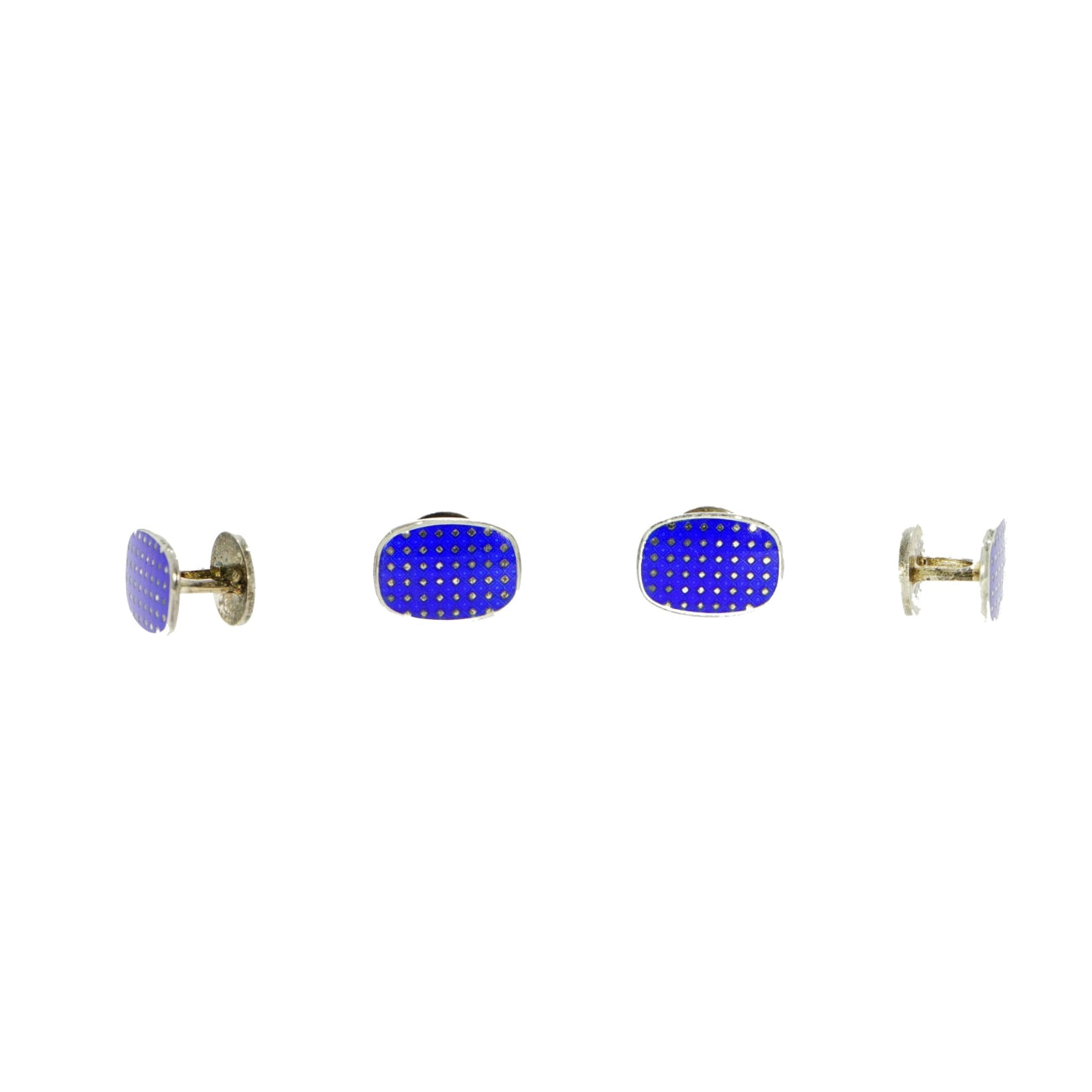 Manfredi Jewels Accessories - Blue Enamel Sterling Silver Formal Shirt Studs by Brixton & Gill | Manfredi Jewels