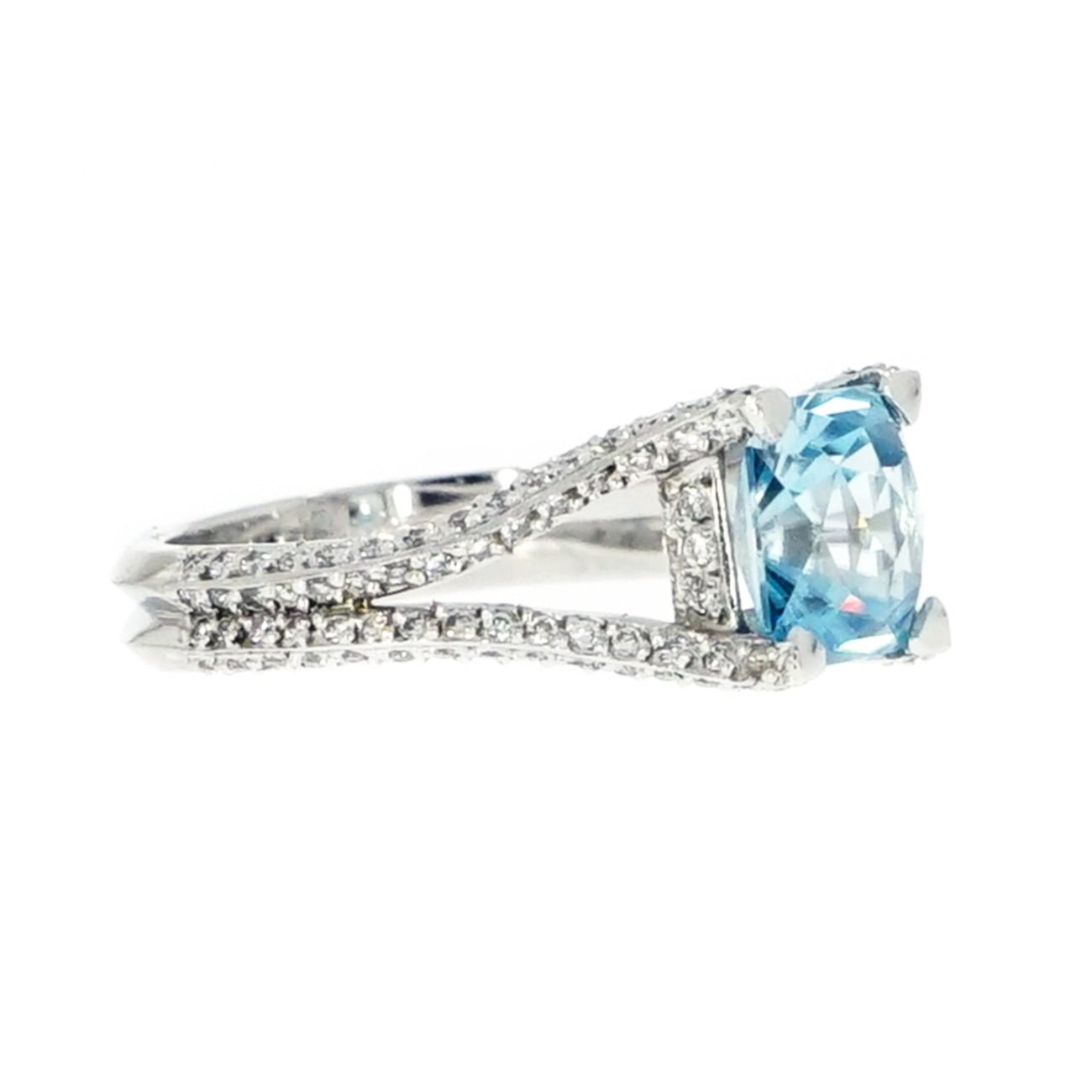 Manfredi Jewels Jewelry - Blue Zircon & Diamond Platinum Ring | Manfredi Jewels