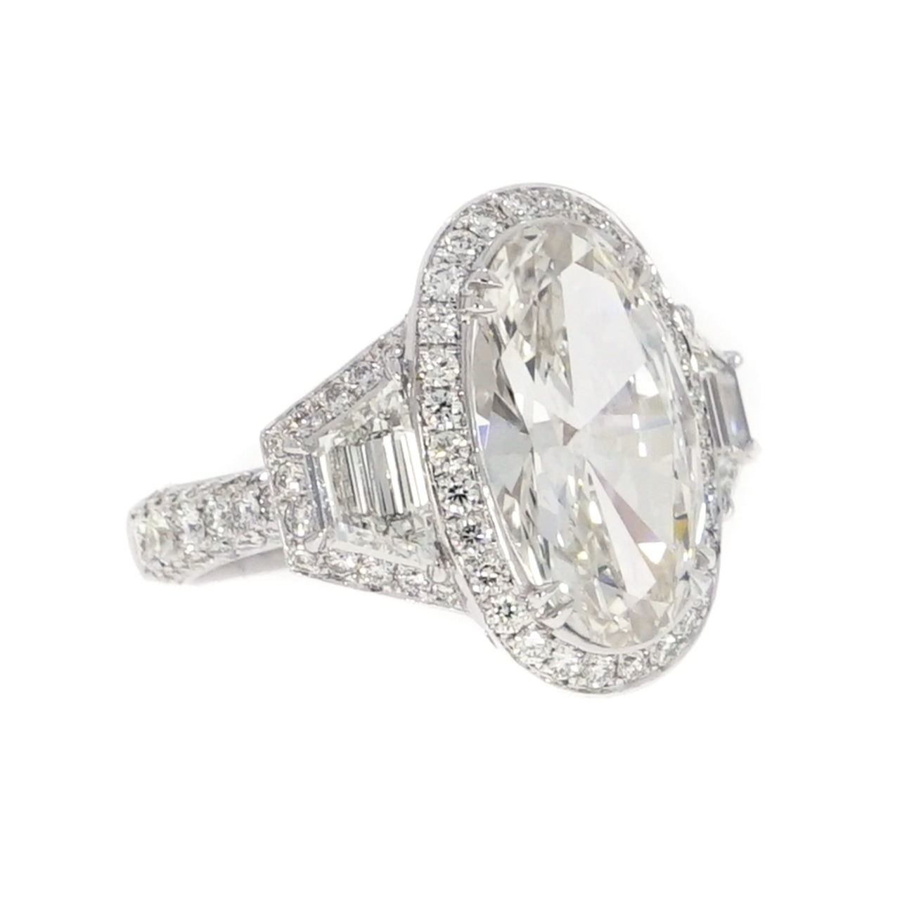 Manfredi Jewels Engagement - GIA Certified 4.34 ct. Oval Diamond Platinum Engagement Ring | Manfredi Jewels