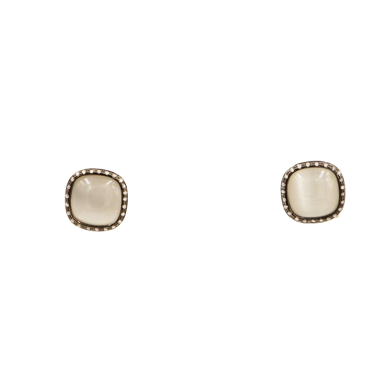 Manfredi Jewels Jewelry - Gray Quartz & Diamond Stud Earrings | Manfredi Jewels