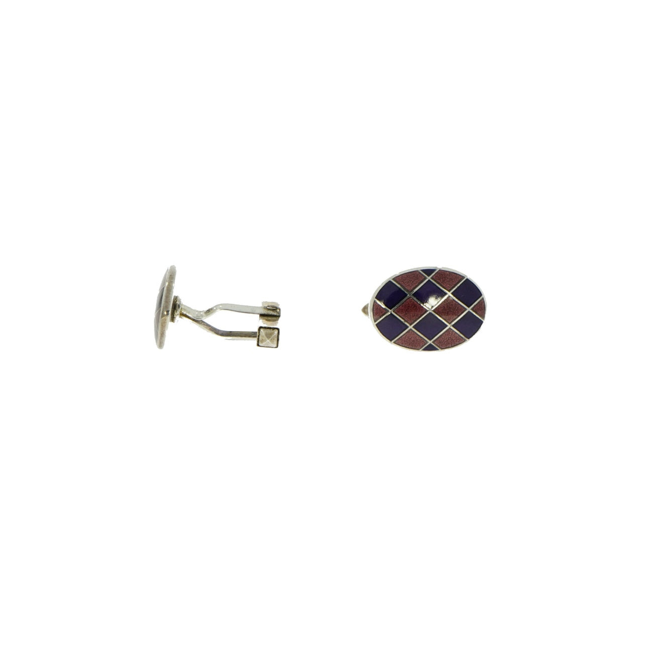 Manfredi Jewels Accessories - Harlequin Enameled Oval Sterling Silver Cufflinks | Manfredi Jewels