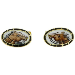 Manfredi Jewels Accessories - Horse Enameled Oval Shaped Yellow Gold Cufflinks | Manfredi Jewels