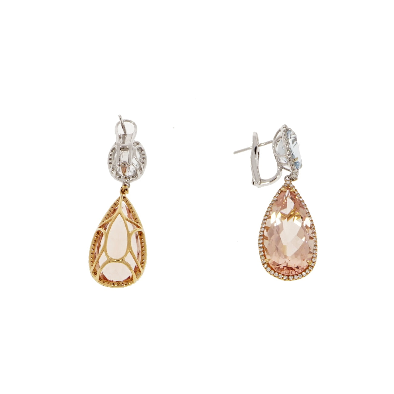 Manfredi Jewels - Morganite & Aquamarine Drop Earrings | Manfredi Jewels