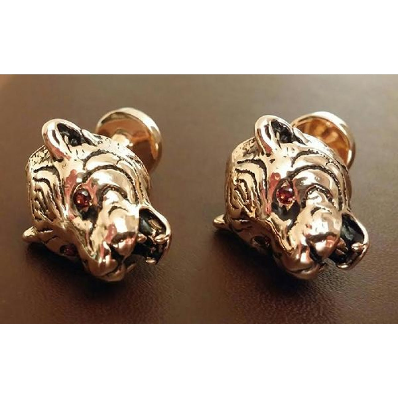 Manfredi Jewels Accessories - Tiger with garnets plated rose | Manfredi Jewels