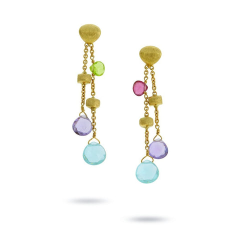 Marco Bicego Jewelry - 18k Gold Paradise Mixed Stone Drop Double Drop Earrings | Manfredi Jewels