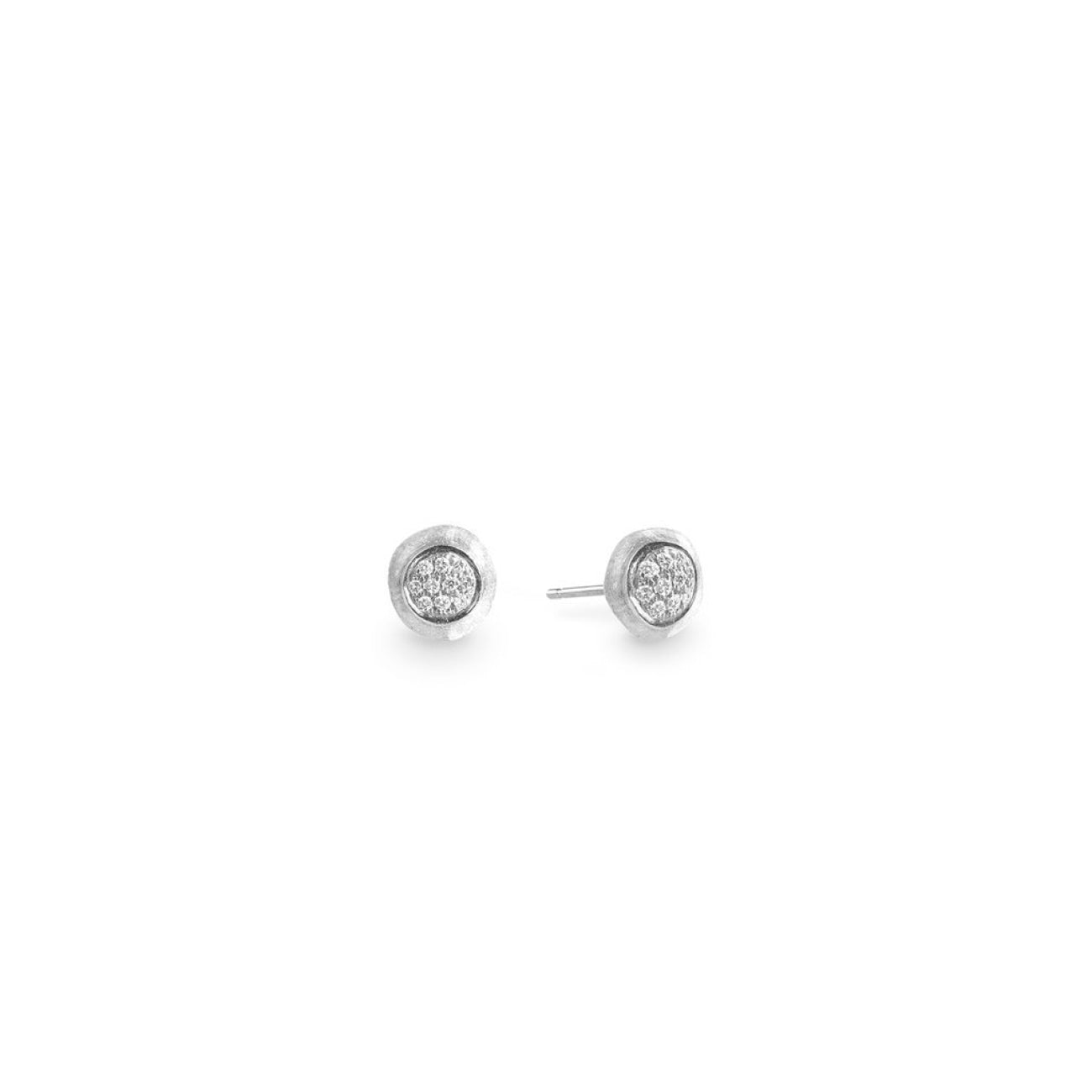 Marco Bicego Jewelry - 18K White Gold Jaipur Diamond White Pave Earrings | Manfredi Jewels