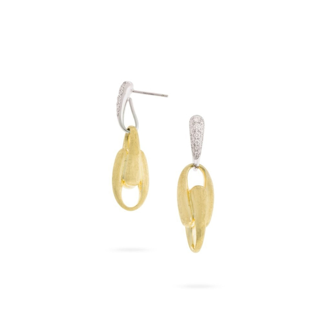 Marco Bicego Jewelry - 18K Yellow Gold and Diamond Link Drop Earrings | Manfredi Jewels