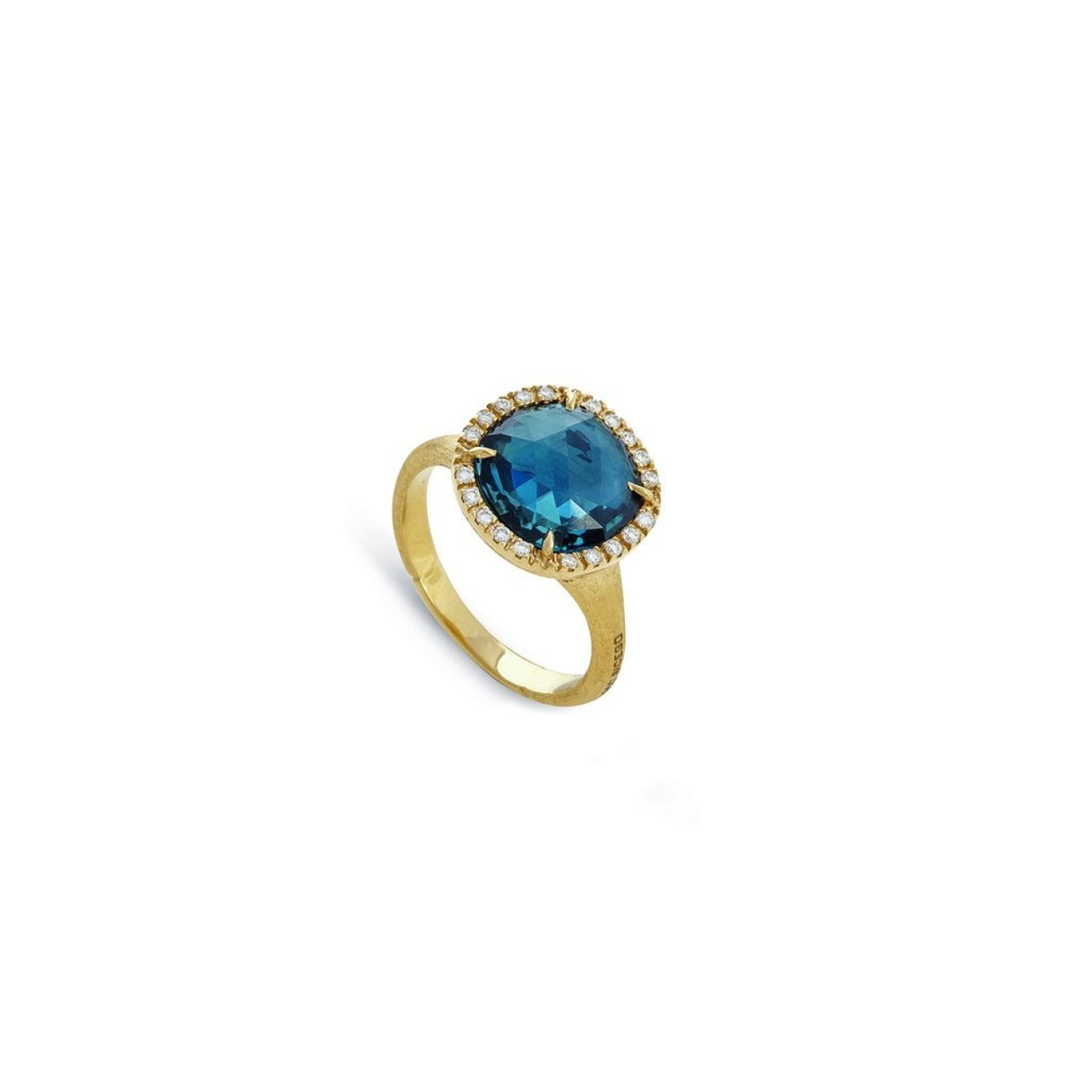 Marco Bicego Jewelry - 18K Yellow Gold and London Blue Topaz Jaipur Diamonds Small Ring | Manfredi Jewels