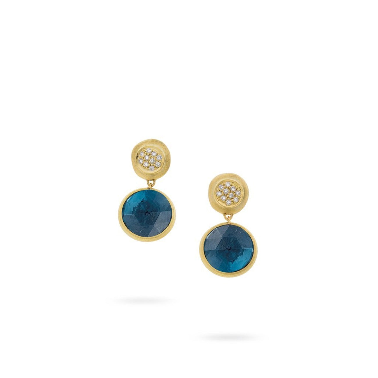 Marco Bicego Jewelry - 18K Yellow Gold and London Blue Topaz with Diamond Drop Earrings | Manfredi Jewels