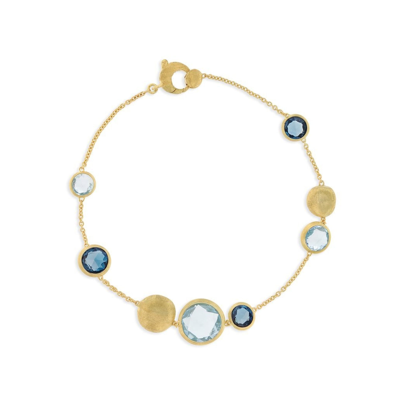 Marco Bicego Jewelry - 18K Yellow Gold and Mixed Blue Topaz Bracelet | Manfredi Jewels