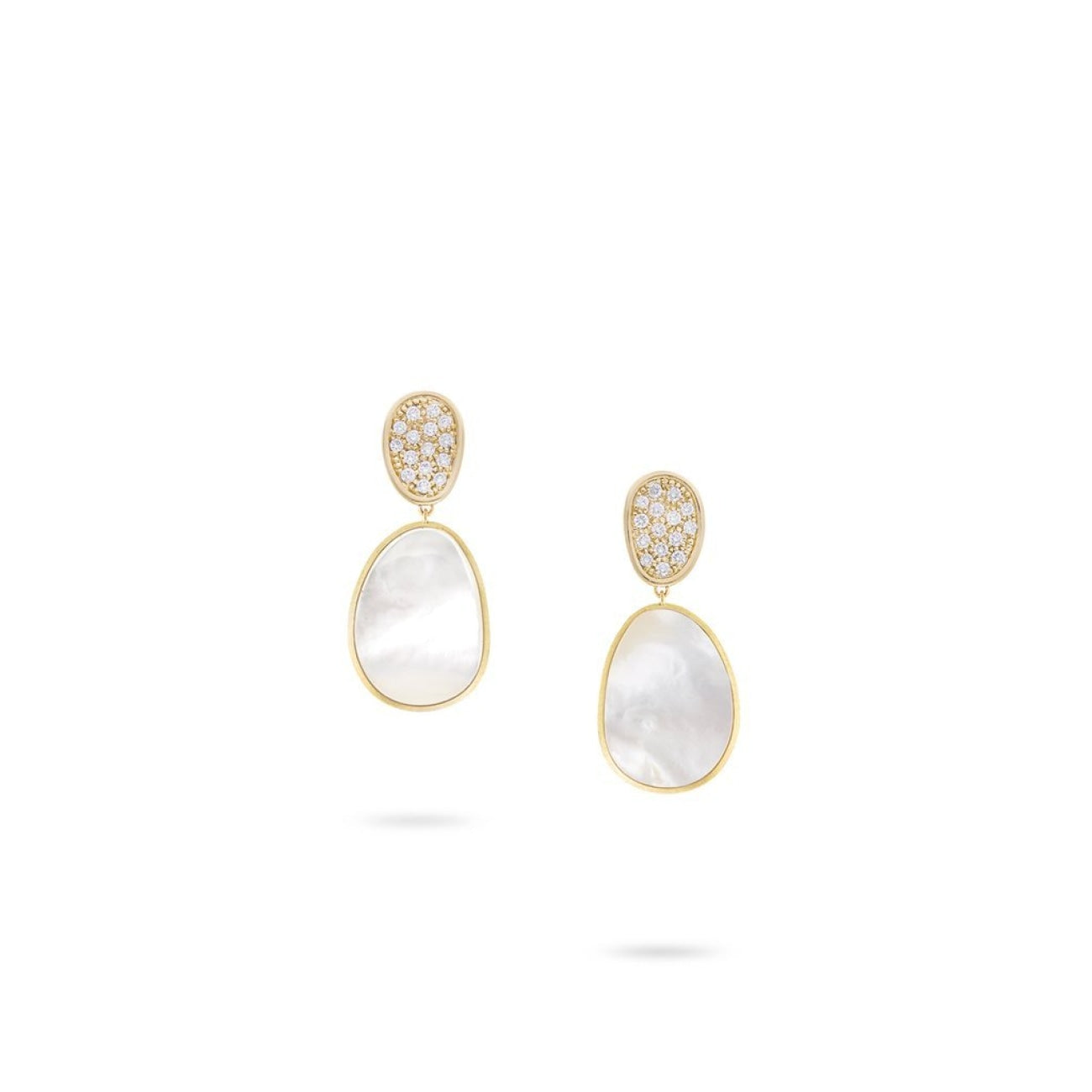 Marco Bicego Jewelry - 18K Yellow Gold and White Mother of Pearl with Diamond Pave Small Drop Earrings | Manfredi Jewels