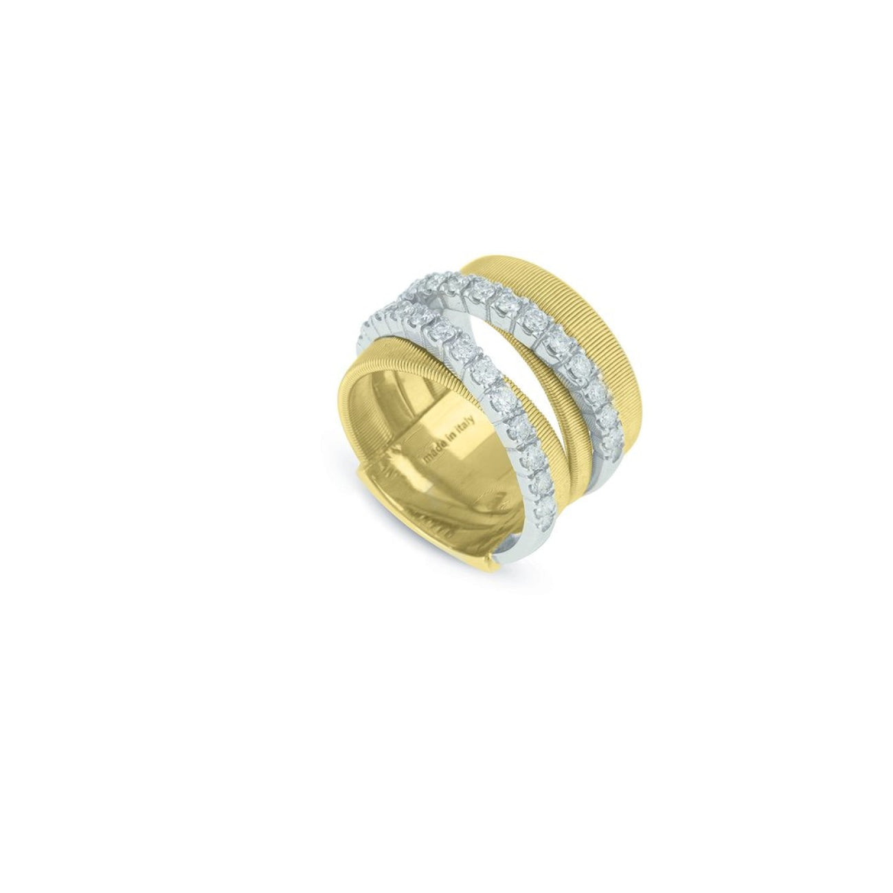 Marco Bicego Jewelry - 18K Yellow Gold & Diamond five Row Crossover Ring | Manfredi Jewels