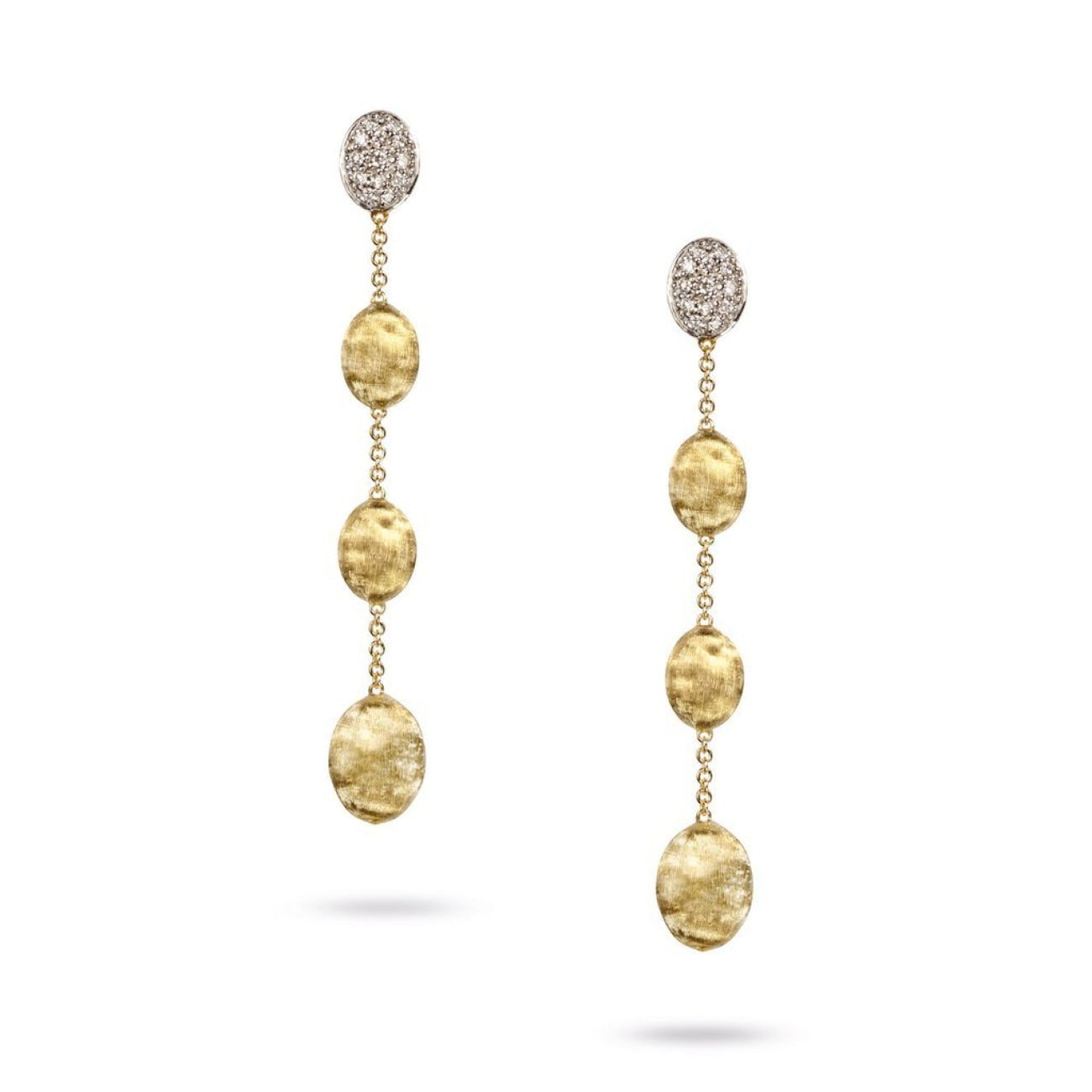 Marco Bicego Jewelry - 18K Yellow Gold & Diamond Pave Four Drop Earrings | Manfredi Jewels