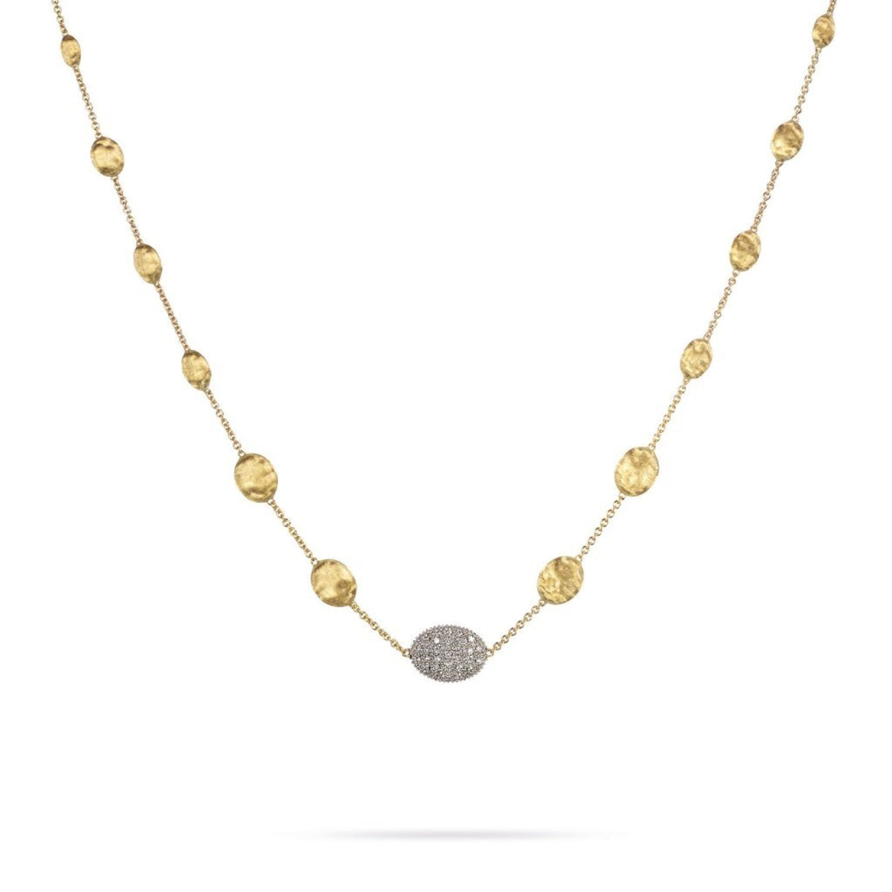 Marco Bicego Jewelry - 18K Yellow Gold & Diamond Pave Graduated Short Necklace | Manfredi Jewels