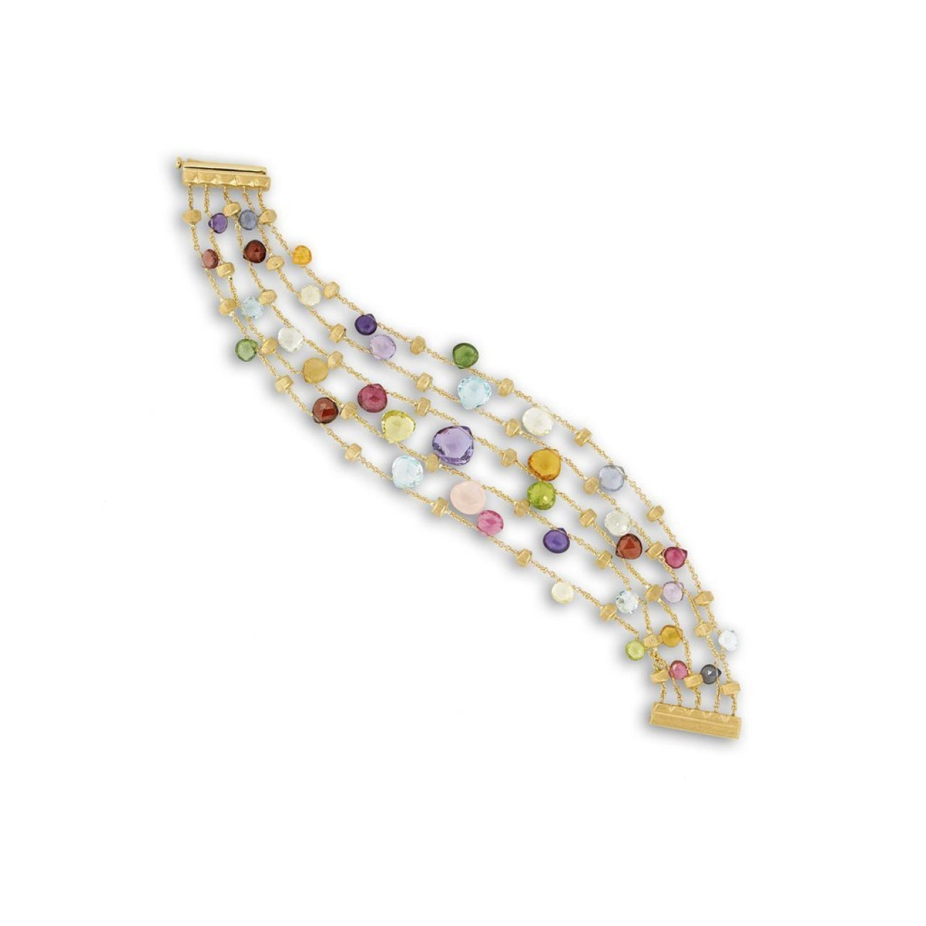 Marco Bicego Jewelry - 18K Yellow Gold & Mixed Stone Five Strand Graduated Bracelet | Manfredi Jewels