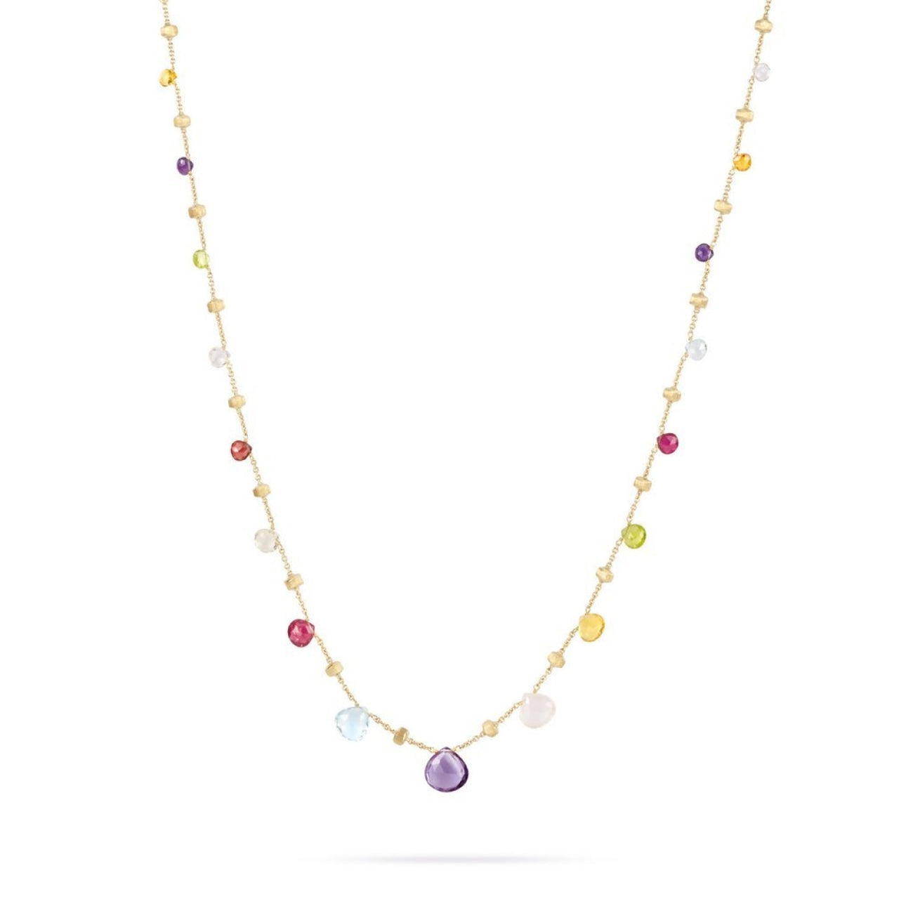 Marco Bicego Jewelry - 18K Yellow Gold & Mixed Stone Graduated Short Necklace | Manfredi Jewels