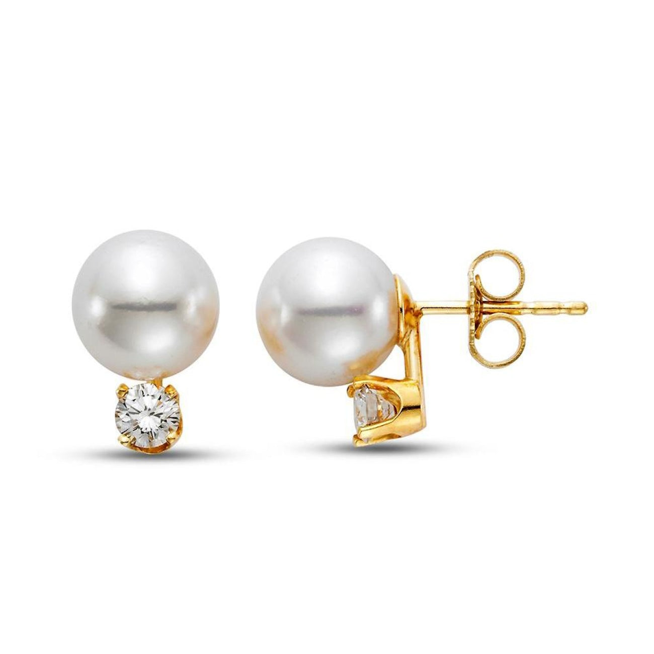 Mastoloni Jewelry - 7.5-8MM AKOYA PEARL & DIAMOND STUD EARRINGS | Manfredi Jewels