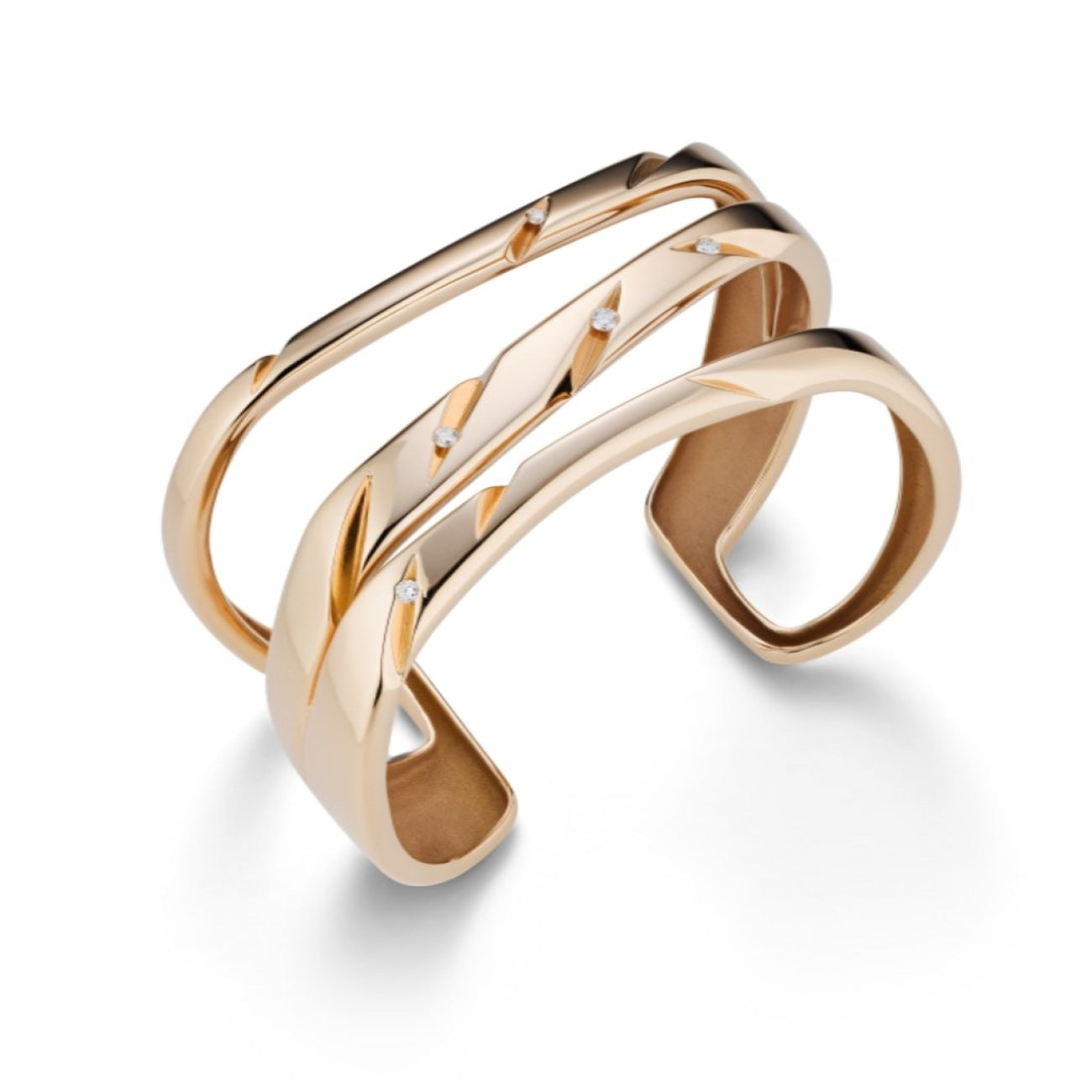Mattioli Jewelry - CUTS cuff in rose gold and white diamonds | Manfredi Jewels