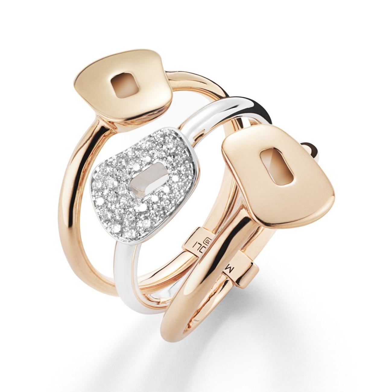 Mattioli Jewelry - Puzzle ring in white gold rose gold and white diamonds (3 elements) | Manfredi Jewels