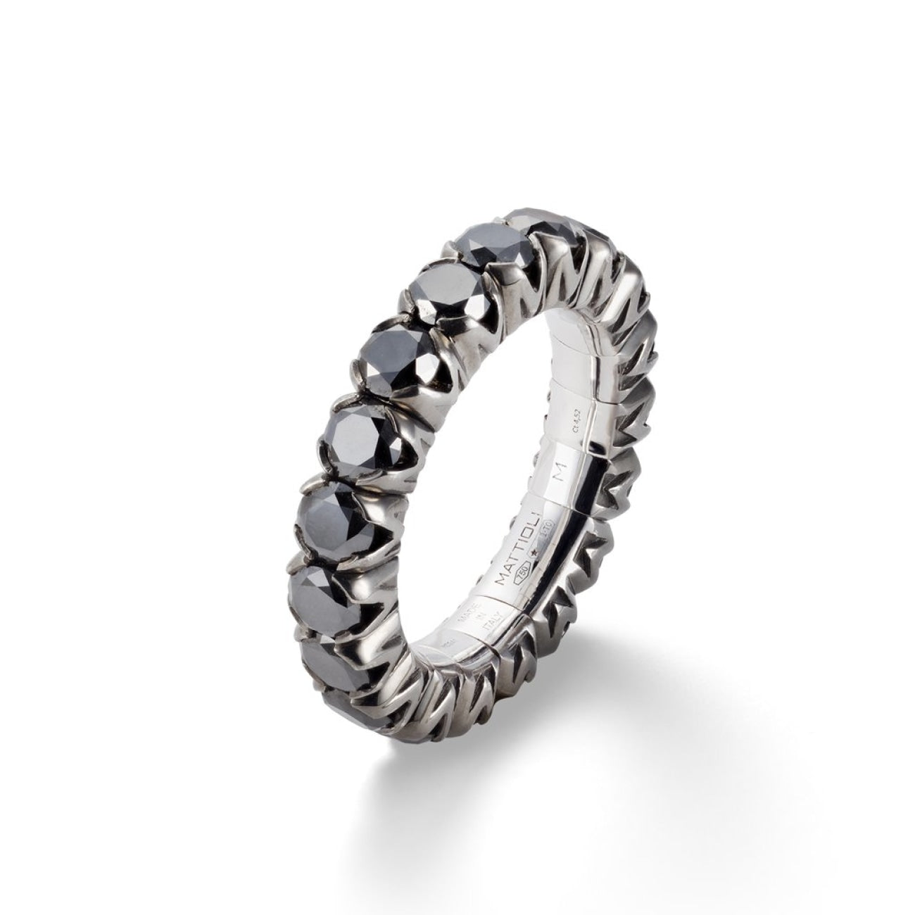 Mattioli Jewelry - Xband Expandable Ring in 18kt White Gold and Black Diamonds | Manfredi Jewels