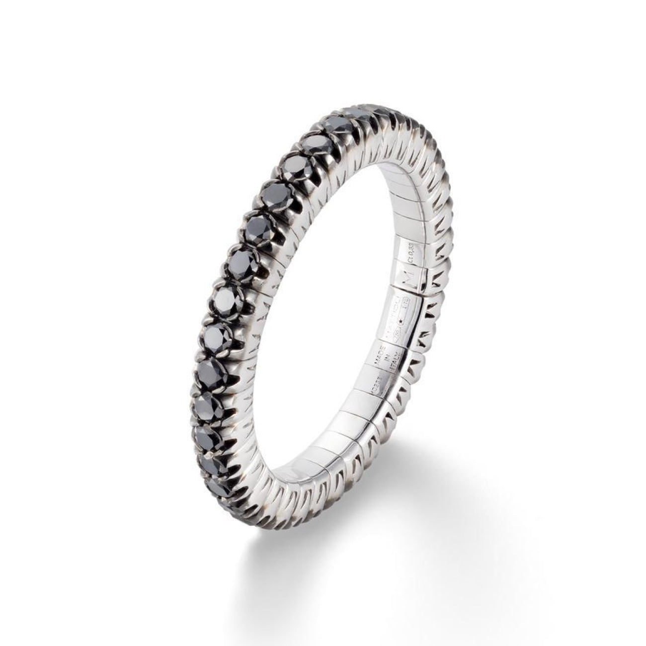 Mattioli Jewelry - Xband Expandable Ring in 18kt White Gold and Black Diamonds in Large Size | Manfredi Jewels