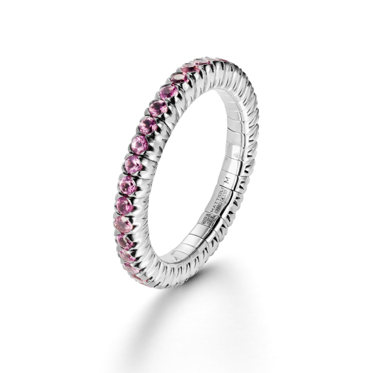 Mattioli Jewelry - Xband Expandable Ring in 18kt White Gold and Pink Sapphire | Manfredi Jewels