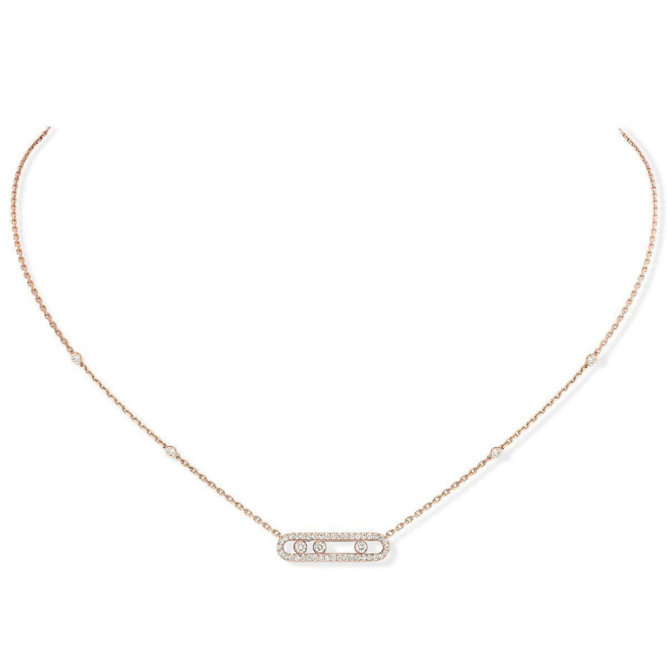 Messika Jewelry - Baby Move Pavé NECKLACE - Pink Gold | Manfredi Jewels