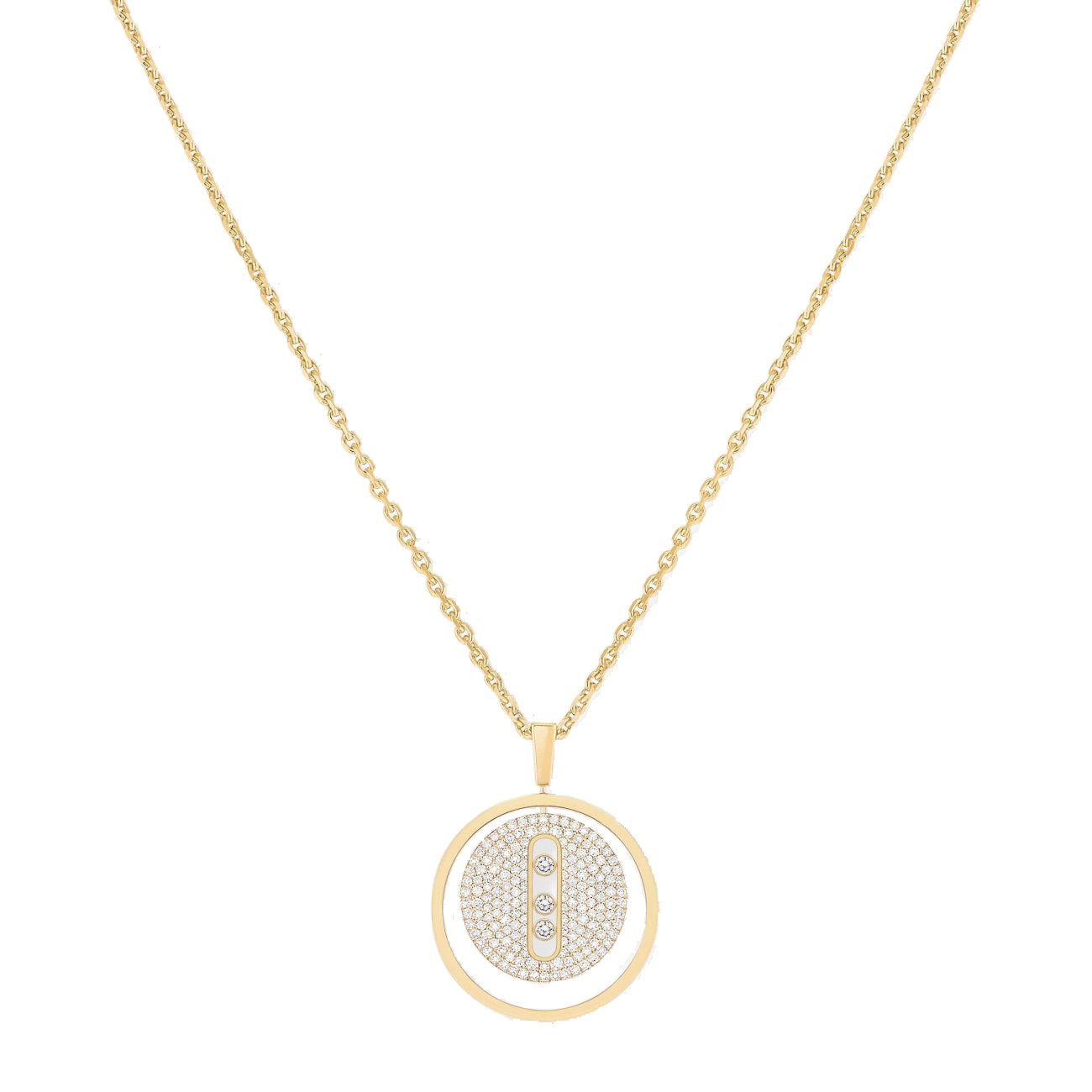 Messika Jewelry - NECKLACE DIAMOND YELLOW GOLD LUCKY MOVE MM PAVÉ | Manfredi Jewels