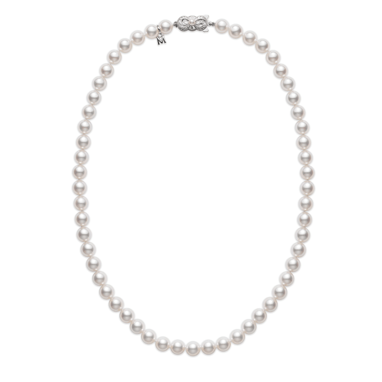 Mikimoto Jewelry - 18k White Gold 7.5mm Cultured Pearl Necklace 18inch | Manfredi Jewels