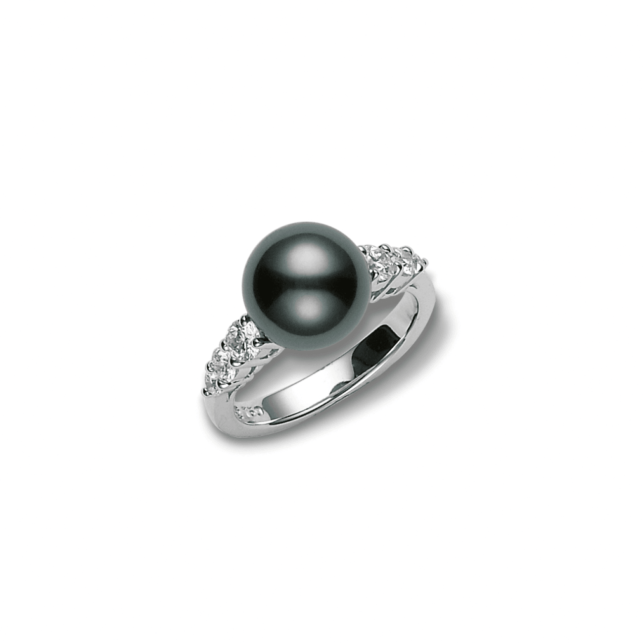 Mikimoto Jewelry - 18K White Gold 9mm Tahitian Grey Cultured Pearl Ring with Diamonds | Manfredi Jewels