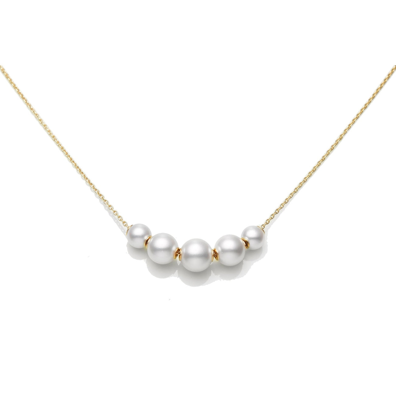 Mikimoto Jewelry - 18K Yellow Gold Cultured Pearl Pendant with 5 Cultured Pearls | Manfredi Jewels