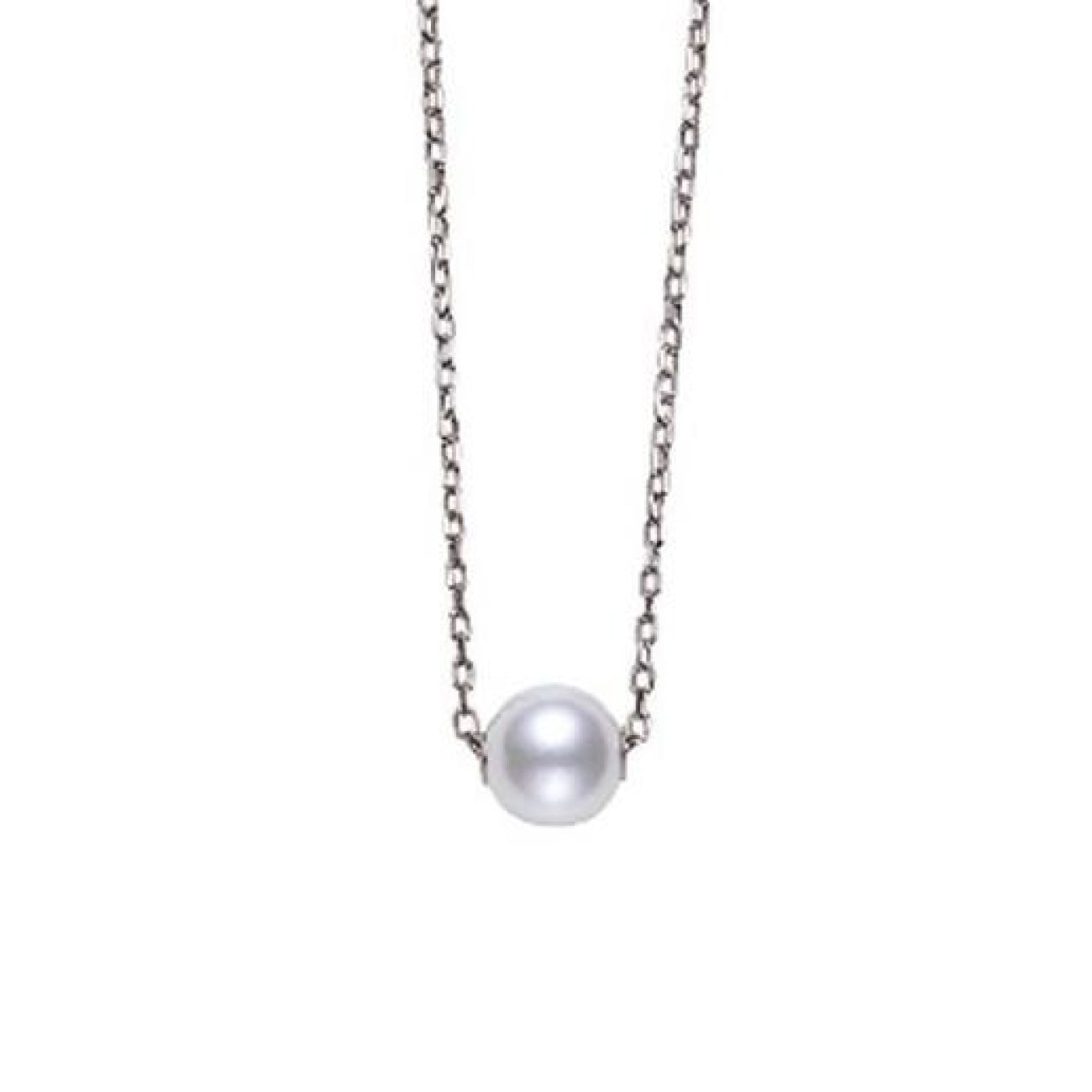 Mikimoto Jewelry - Akoya Single Cultured Pearl Pendant in 18K White Gold | Manfredi Jewels