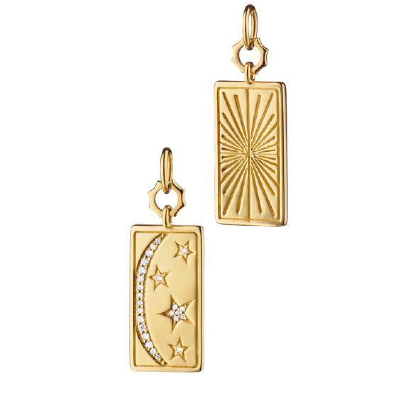 Monica Rich Kosann Jewelry - 18KT Yellow Gold Sun Moon and Stars Tag Charm | Manfredi Jewels