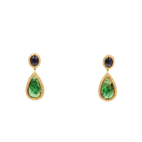 Monseo Jewelry - Emerald & Sapphire Yellow Gold Drop Earrings | Manfredi Jewels