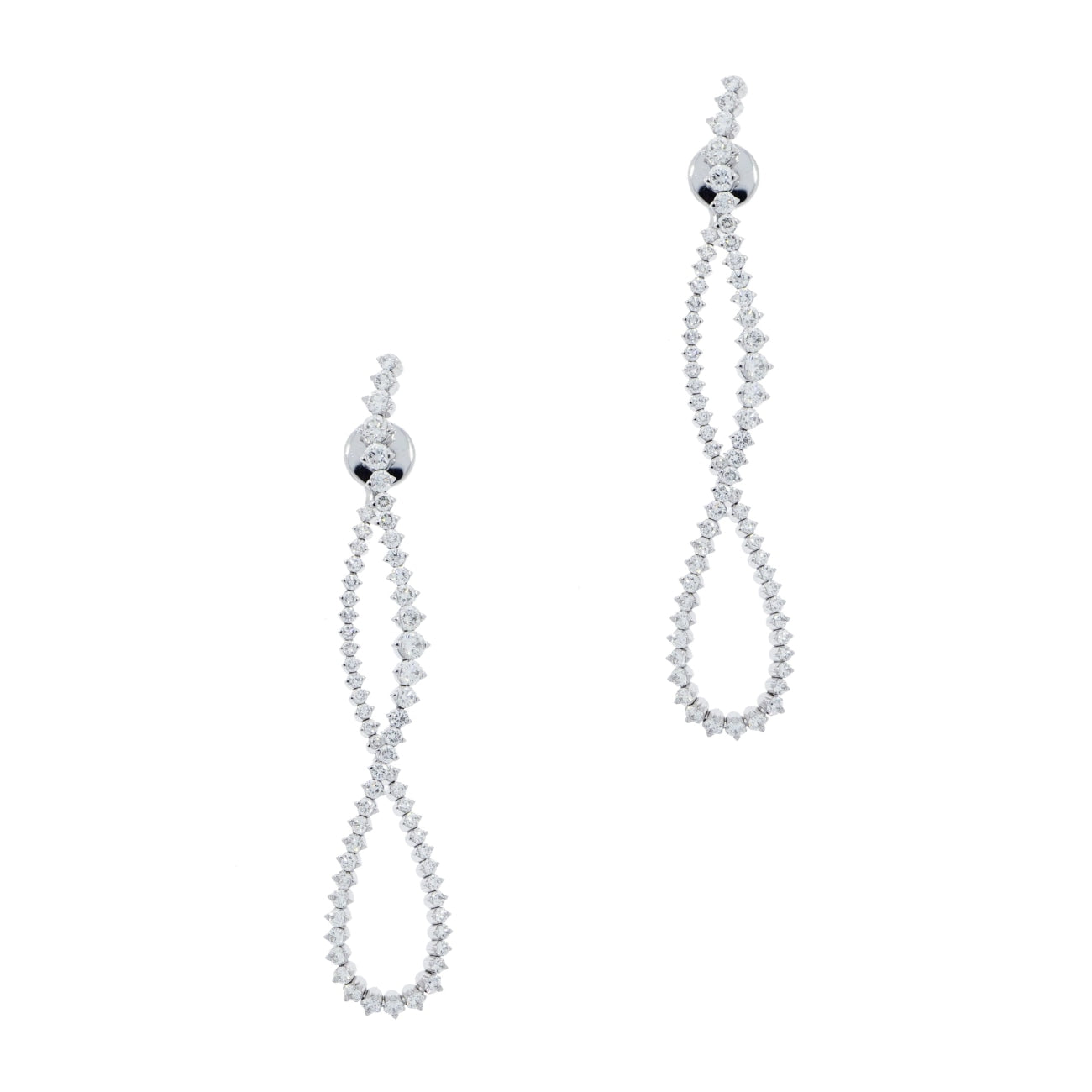 New Italian Art Jewelry - Long Twisted Diamond Earring | Manfredi Jewels