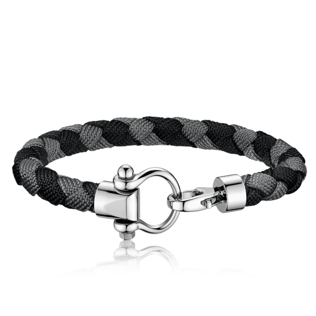 Omega Accessories - Sailing bracelet in stainless steel black and grey braided nylon | Manfredi Jewels