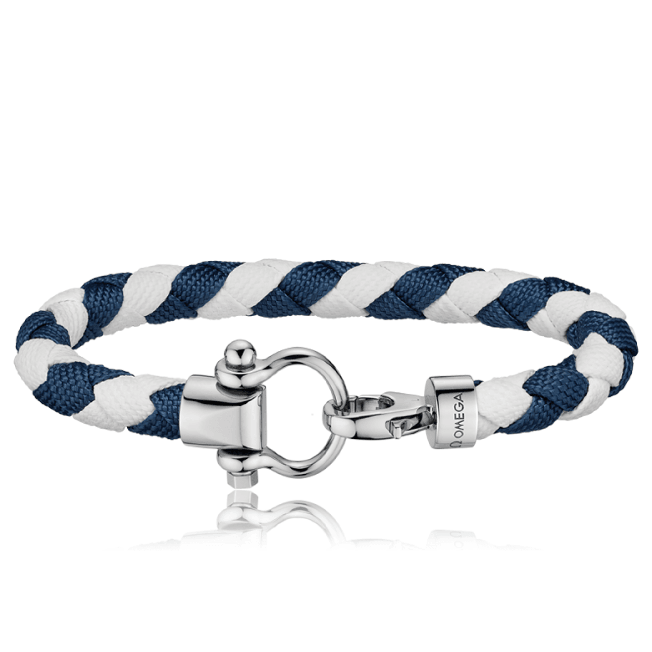 Omega Accessories - Sailing bracelet in stainless steel white and dark blue braided nylon | Manfredi Jewels