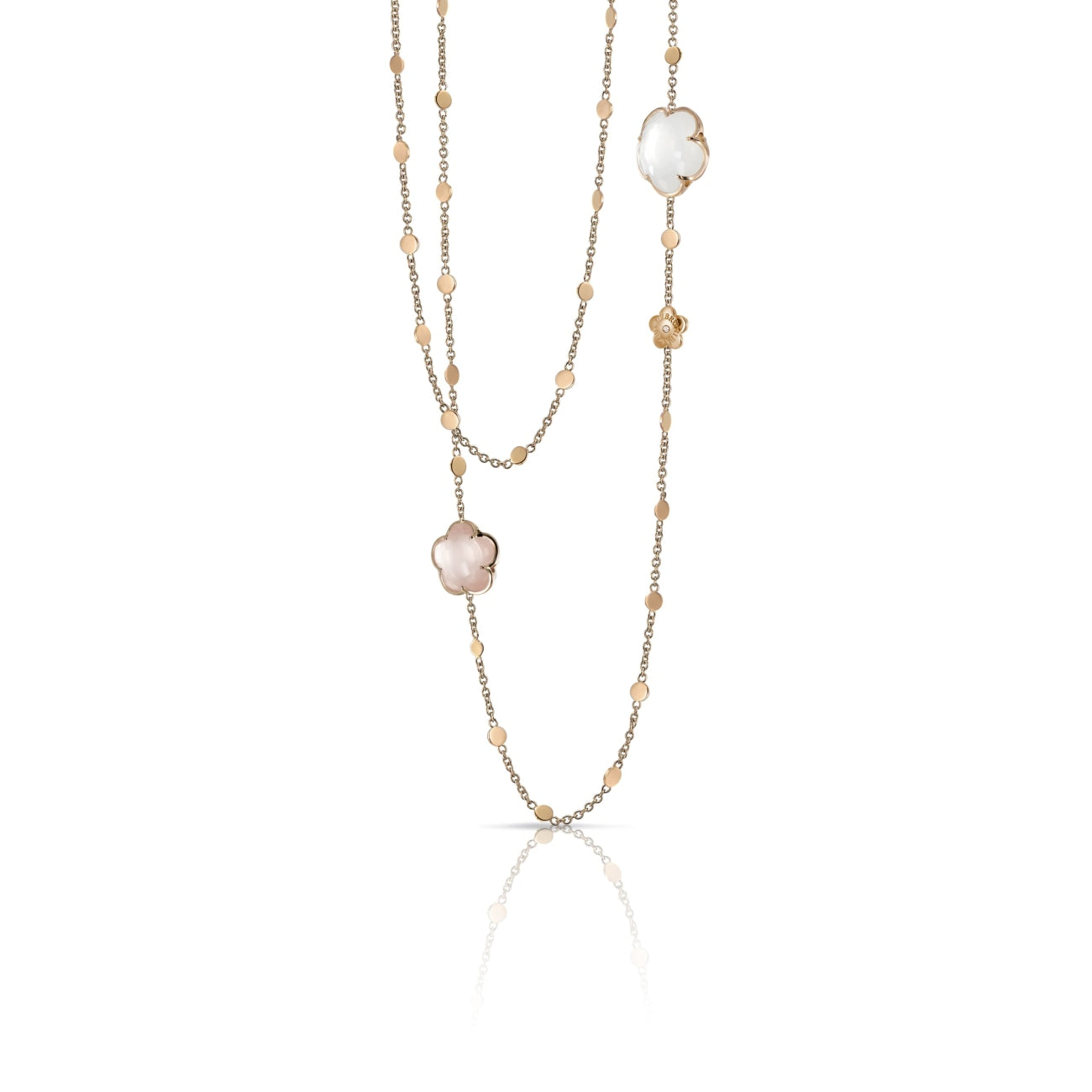 Pasquale Bruni Jewelry - Bon Ton pink and milky quartz necklace | Manfredi Jewels