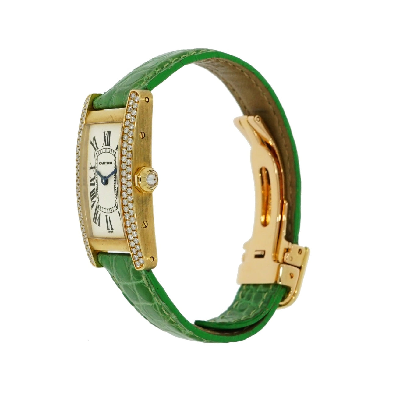 Pre-Owned Cartier Watches - Tank Americaine Diamond Bezel in 18 Karat Yellow Gold 1710 | Manfredi Jewels