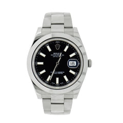 Pre-Owned Rolex Watches - Datejust II Black Dial in Stainless Steel 116300 | Manfredi Jewels