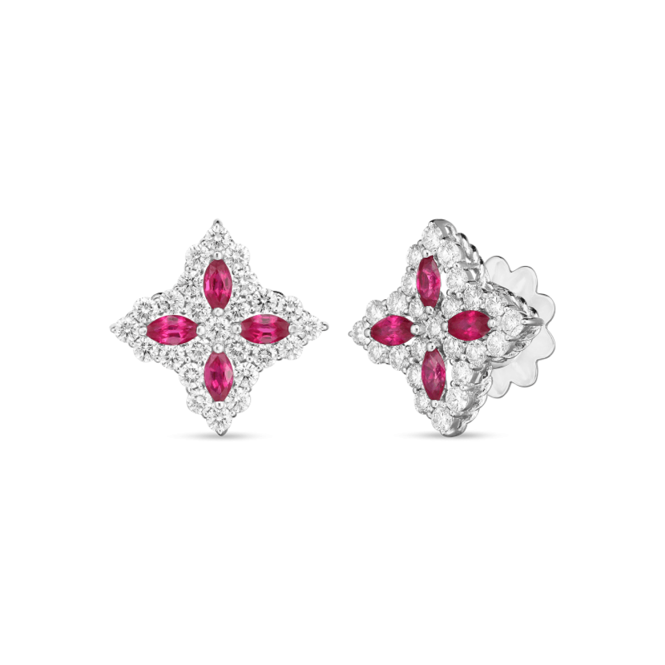 Roberto Coin Jewelry - 18K GOLD DIA & RUBY PRINCESS FLOWER MEDIUM SIZE STUD EARRING | Manfredi Jewels