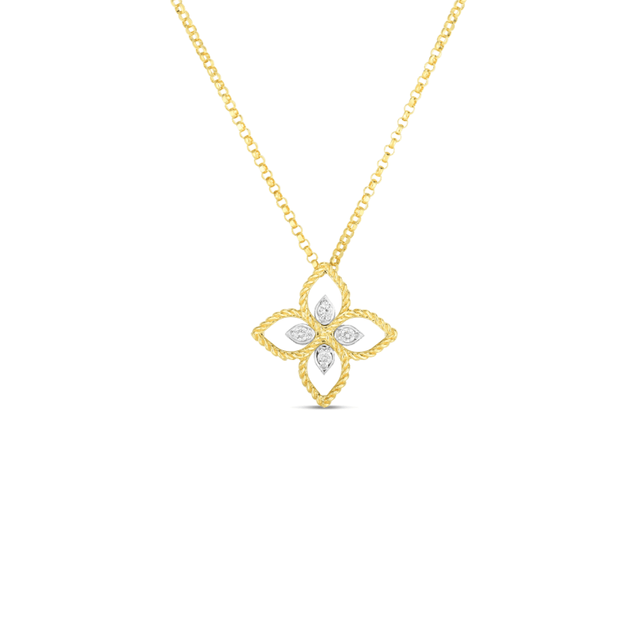 Roberto Coin Jewelry - 18k Principessa Small Flower Pendant W. Diamond 7772717aj17x | Manfredi Jewels
