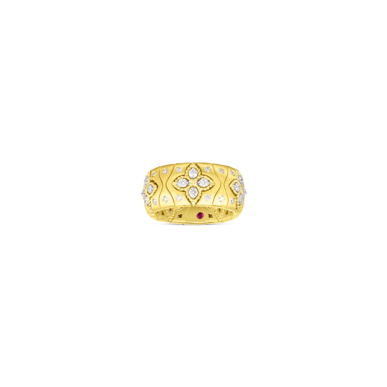 Roberto Coin Jewelry - 18K ROYAL PRINCESS FLOWER SATIN RING W. DIAMOND ACCENT | Manfredi Jewels