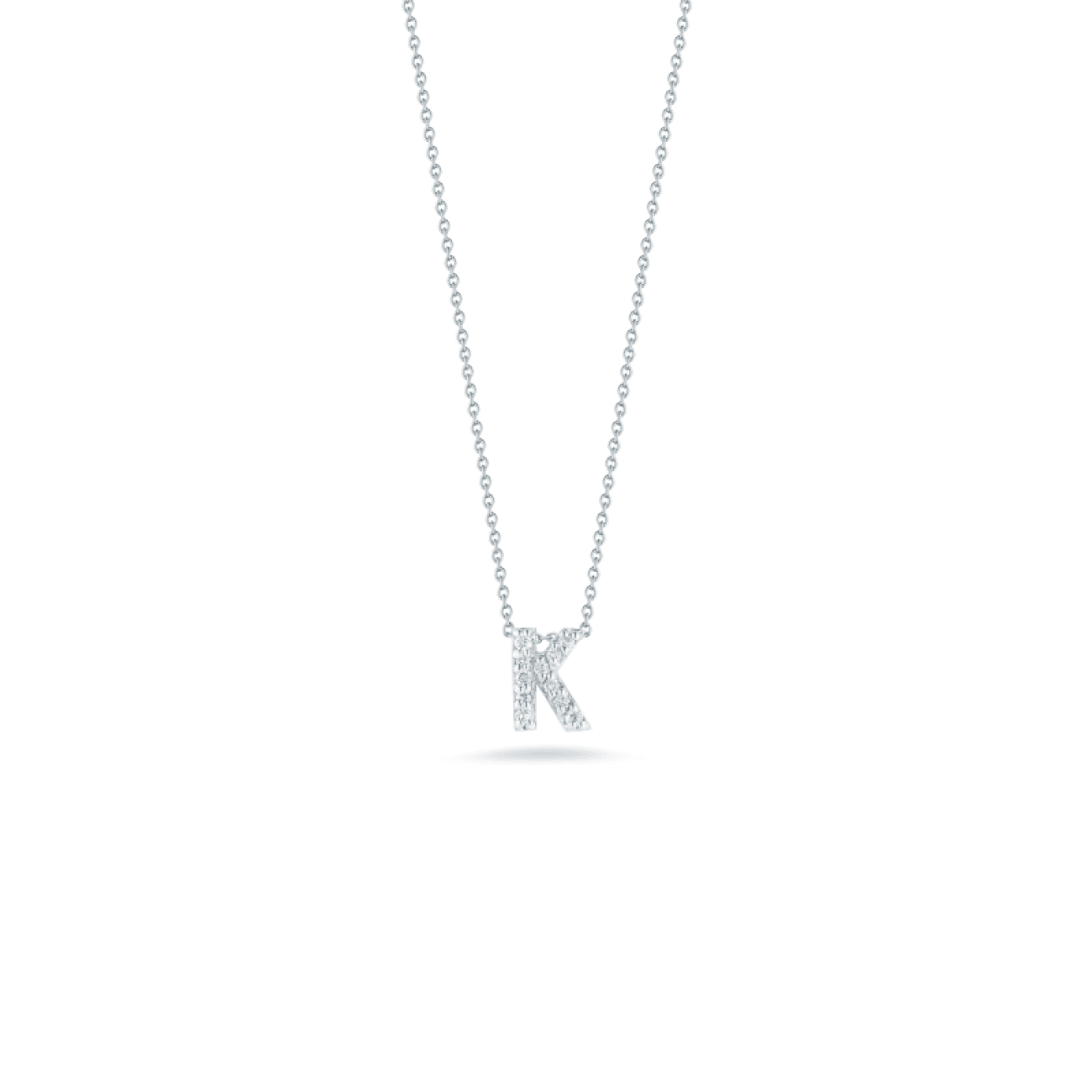 Roberto Coin Jewelry - 18kt Gold Love Letter K Pendant with Diamonds 001634awchxk | Manfredi Jewels