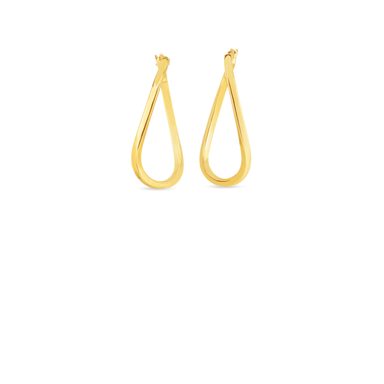 Roberto Coin Jewelry - 18KT GOLD TWIST OVAL HOOP EARRINGS | Manfredi Jewels