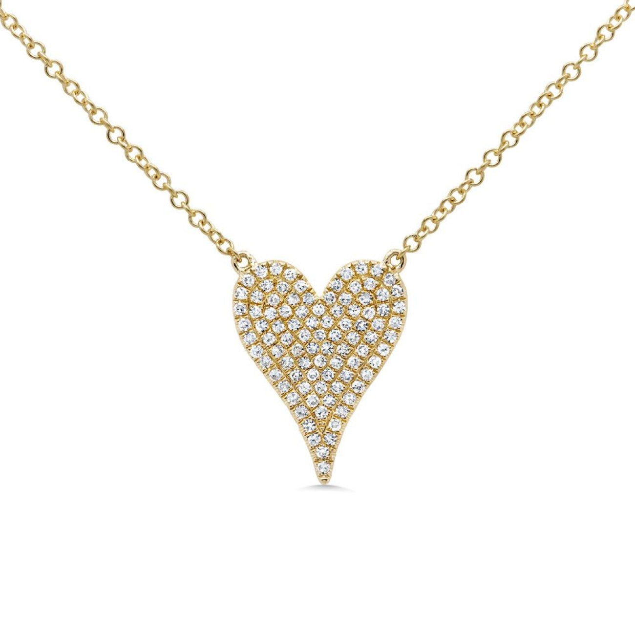 Shy Creation Jewelry - 0.21ct 14k Yellow Gold Diamond Pave Heart Necklace | Manfredi Jewels