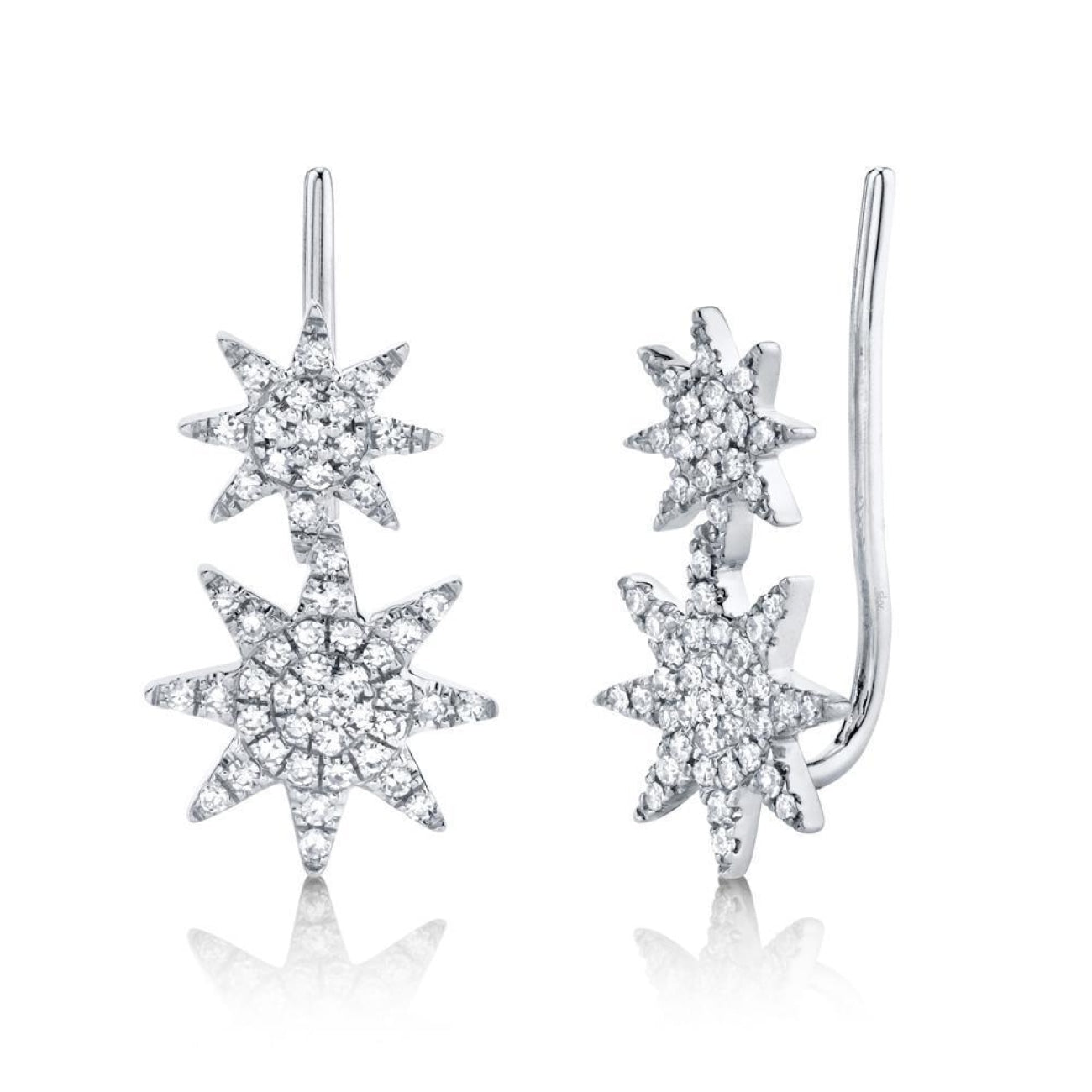 Shy Creation Jewelry - 0.22CT DIAMOND PAVE STAR EAR CRAWLER EARRING | Manfredi Jewels
