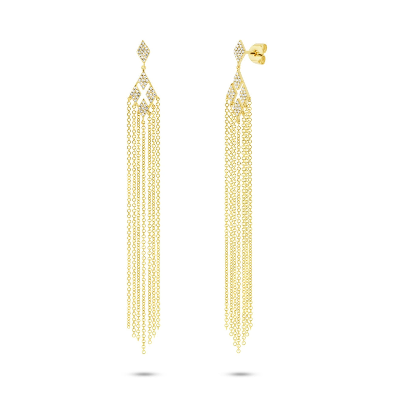 Shy Creation Jewelry - 0.25CT 14K YELLOW GOLD DIAMOND FRINGE EARRING | Manfredi Jewels