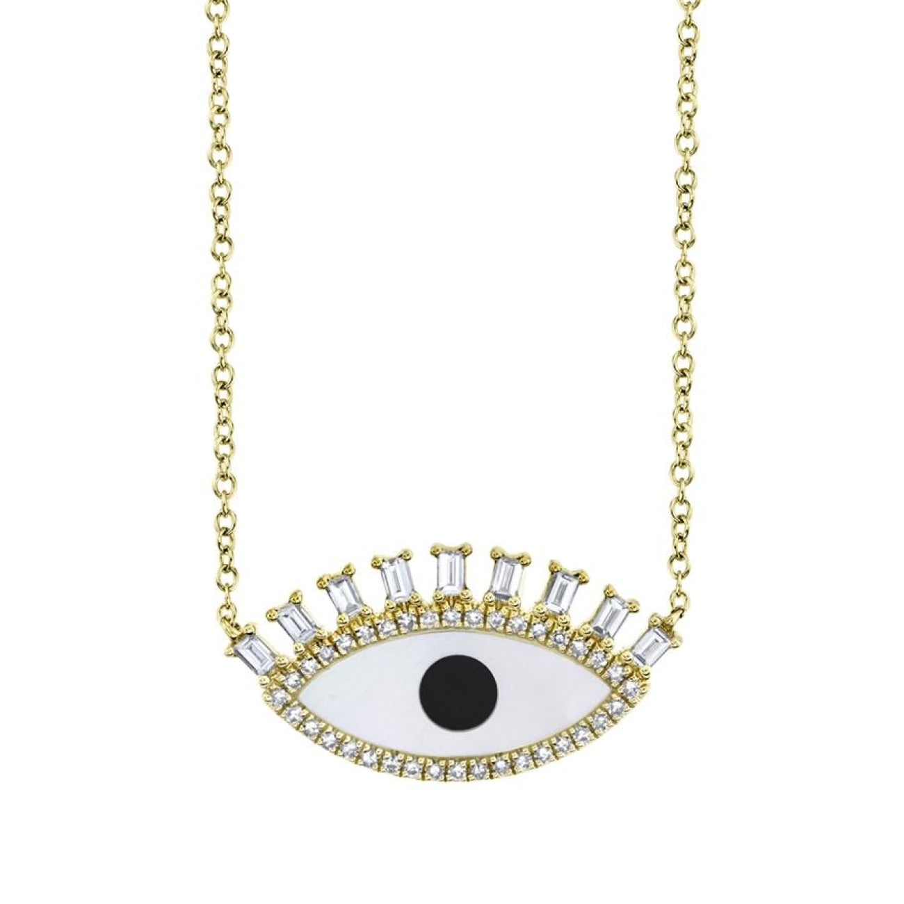 Shy Creation Jewelry - 0.29CT DIAMOND & 0.94CT ONYX & MOTHER OF PEARL 14K YELLOW GOLD EYE NECKLACE | Manfredi Jewels