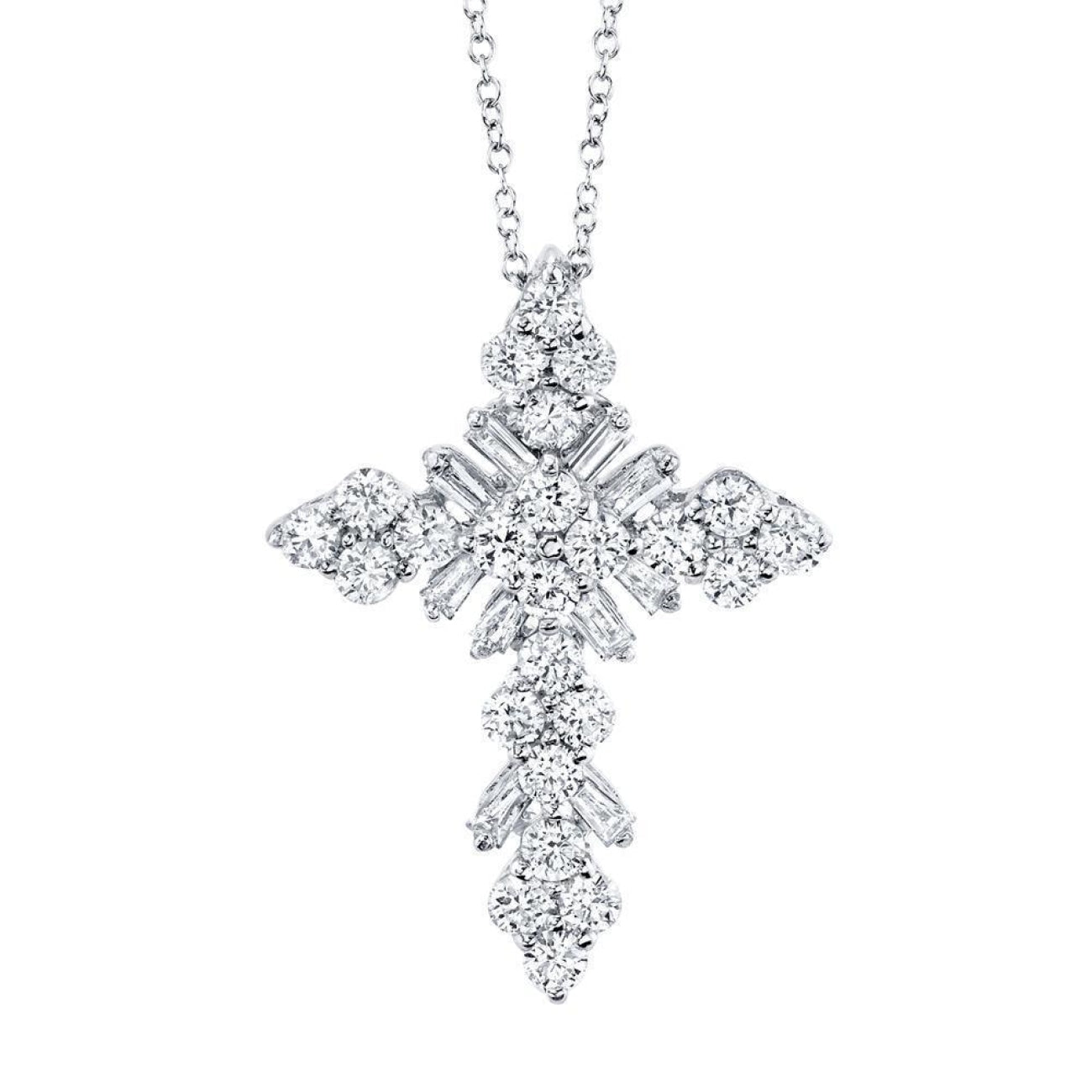 Shy Creation Jewelry - 0.60CT DIAMOND BAGUETTE CROSS NECKLACE | Manfredi Jewels